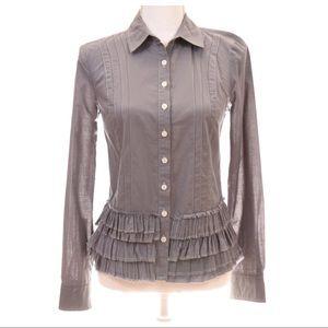 ANTHROPOLOGIE Ruffle Hem Button Down Shirt